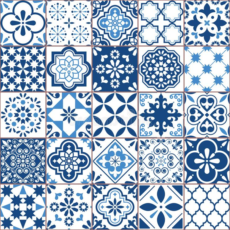 Free Lisbon Geometric Azulejo Tile Vector Pattern, Portuguese Or Spanish Retro Old Tiles Mosaic, Mediterranean Seamless Navy Blue Desig Royalty Free Stock Photography - 130179397