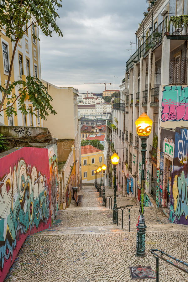 Lisbon graffiti fotografia royalty free