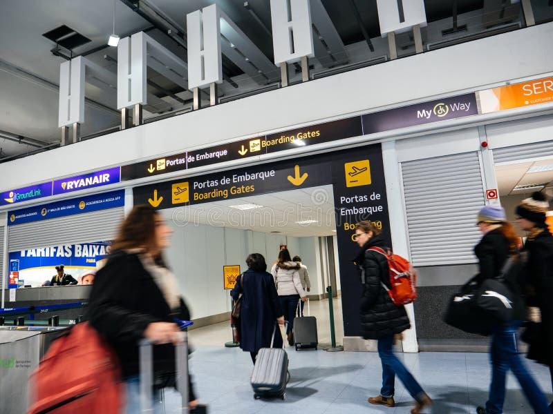 Lisbon International Airport toward Boarding Gate Portas de Embarque stock image