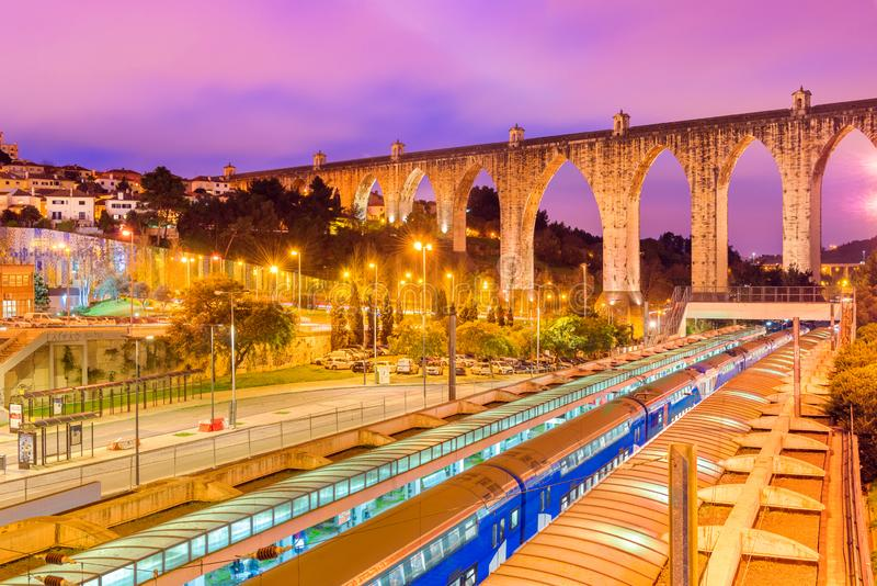 Lisbon, Portugal:  Evening view of the historic aqueduct in Lisbon stock photo