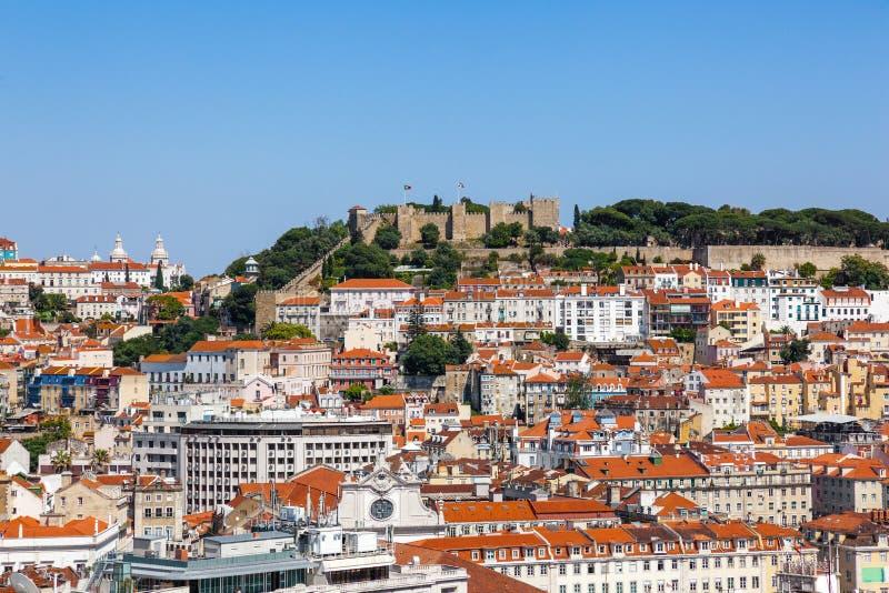 Lisbon linia horyzontu, Portugalia baixa, Alfama i Mouraria okręgi, zdjęcia royalty free