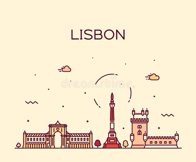Lisbon miasta linia horyzontu, Portugalia wektorowy liniowy styl royalty ilustracja