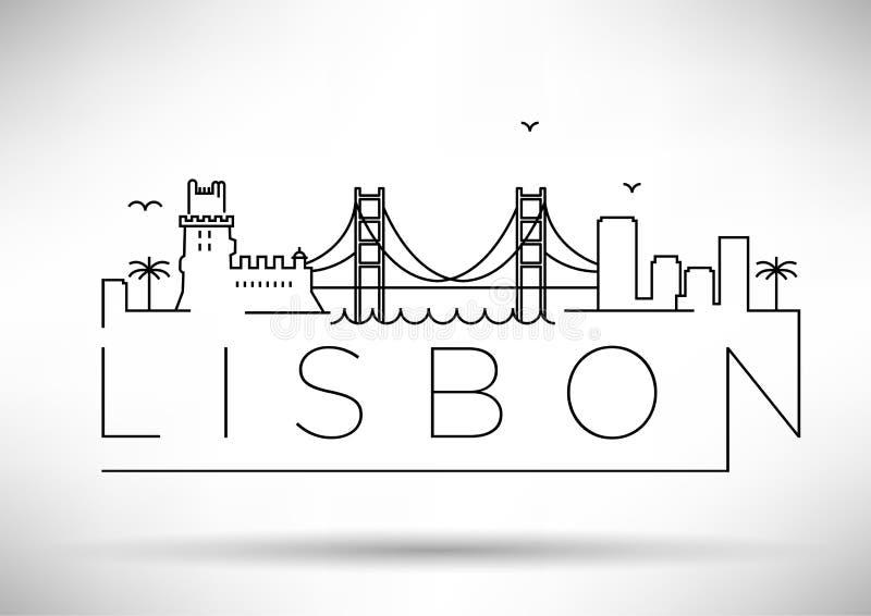 Lisbon miasta linii sylwetki Typograficzny projekt royalty ilustracja