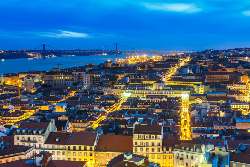 Lisbon by night. City view from Lisbon old district by night stock image