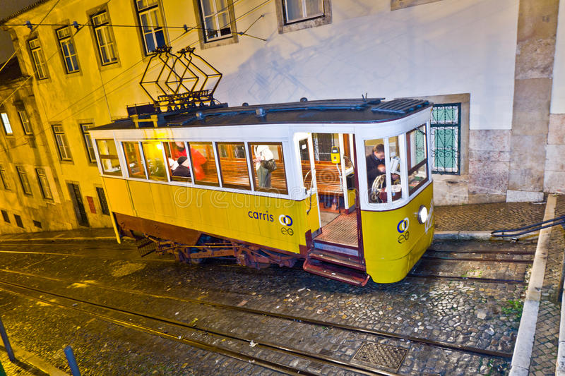 Download Lisbon At Night, Famous Tram, Historic Streetcar Editorial Image - Image: 27472340