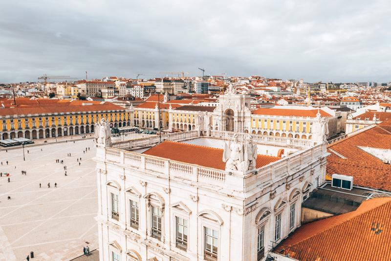 LISBON, PORTUGAL - 08/20/2018 - Aerial view of the famous Praca do Comercio Commerce Square. stock photography