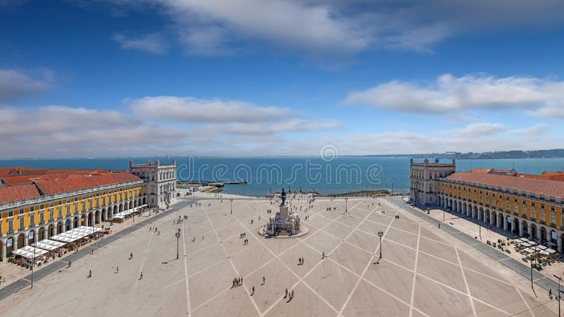 Lisbon, Portugal. Aerial view of Praca do Comercio aka Terreiro do Paco or Commerce Square with King Dom Jose statue, Cais das stock photo