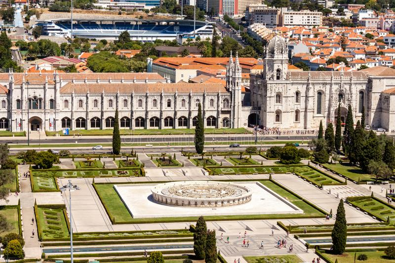 Aerial sunny view of Praca do Imperio in Lisbon, with Museu de Marinha in the back royalty free stock image