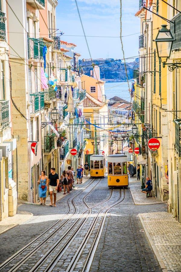 Lisbon Bica Funicular stock photography