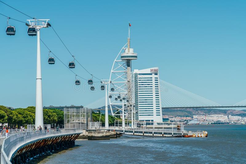 Cable Car Ride Of Parque das Nacoes Park of Nations in Lisbon. LISBON, PORTUGAL - AUGUST 18, 2017: Cable Car Ride Of Parque das Nacoes Park of Nations in Lisbon stock image