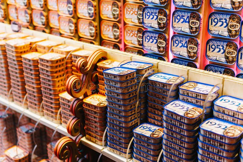 Fish Cans For Sale In The Fantastic World Of Portuguese Sardines Store royalty free stock photo