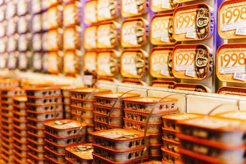 Fish Cans For Sale In The Fantastic World Of Portuguese Sardines Store royalty free stock image