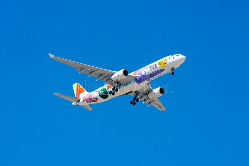 Tap Air Portugal Passenger Airplane Take Off From Humberto Delgado Airport In Lisbon City. LISBON, PORTUGAL - AUGUST 14, 2017: Tap Air Portugal Passenger royalty free stock photography