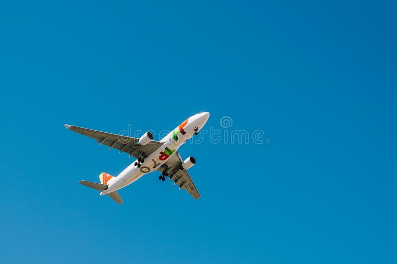 Tap Air Portugal Passenger Airplane Take Off From Humberto Delgado Airport In Lisbon City. LISBON, PORTUGAL - AUGUST 14, 2017: Tap Air Portugal Passenger royalty free stock image