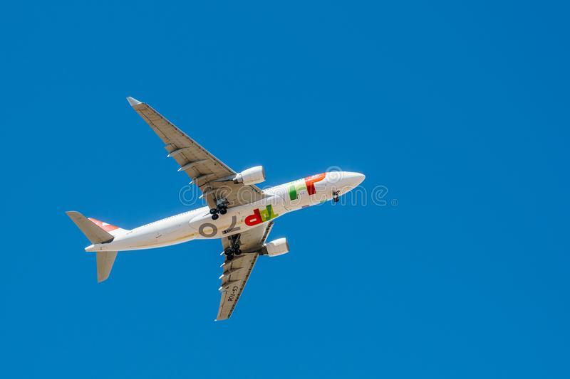 Tap Air Portugal Passenger Airplane Take Off From Humberto Delgado Airport In Lisbon City. LISBON, PORTUGAL - AUGUST 14, 2017: Tap Air Portugal Passenger stock images