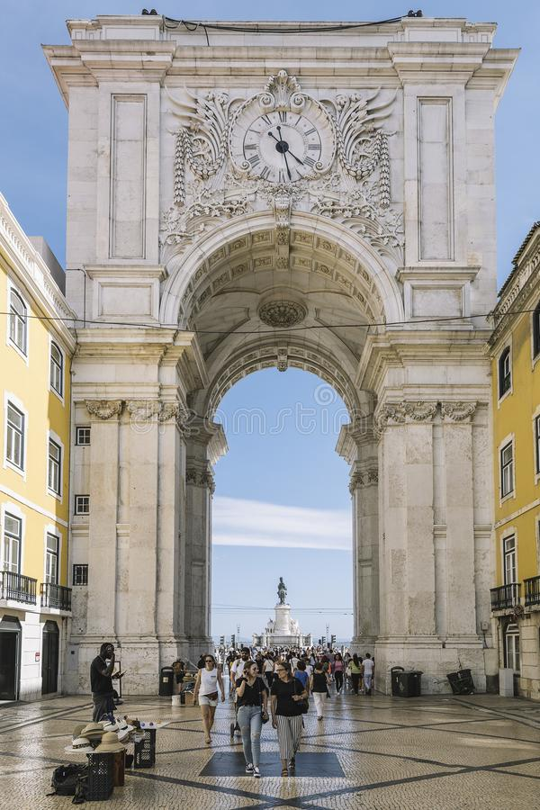 Rua Augusta Arch on Commerce Square in Lisbon royalty free stock photo