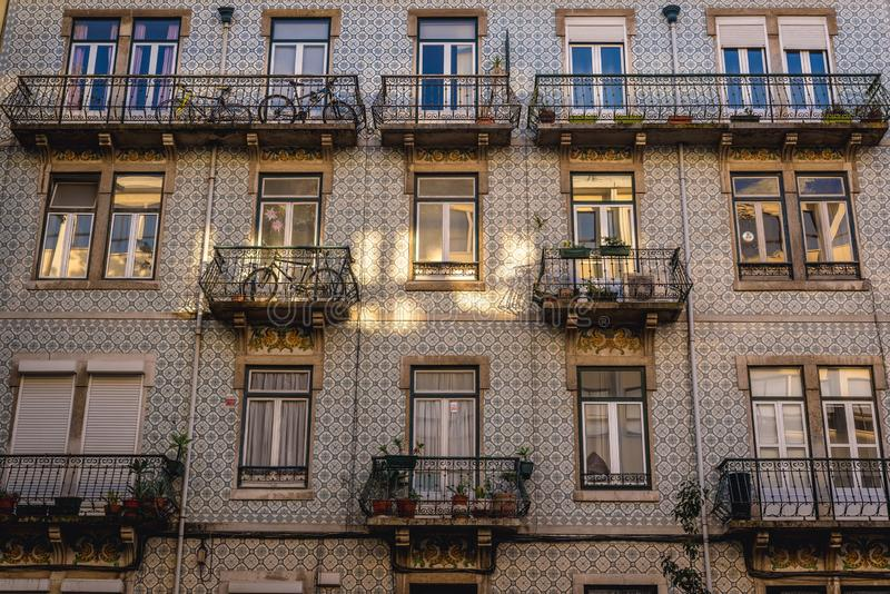 Lisbon in Portugal. Azulejo facade od residentia building in Lisbon city, Portugal stock images