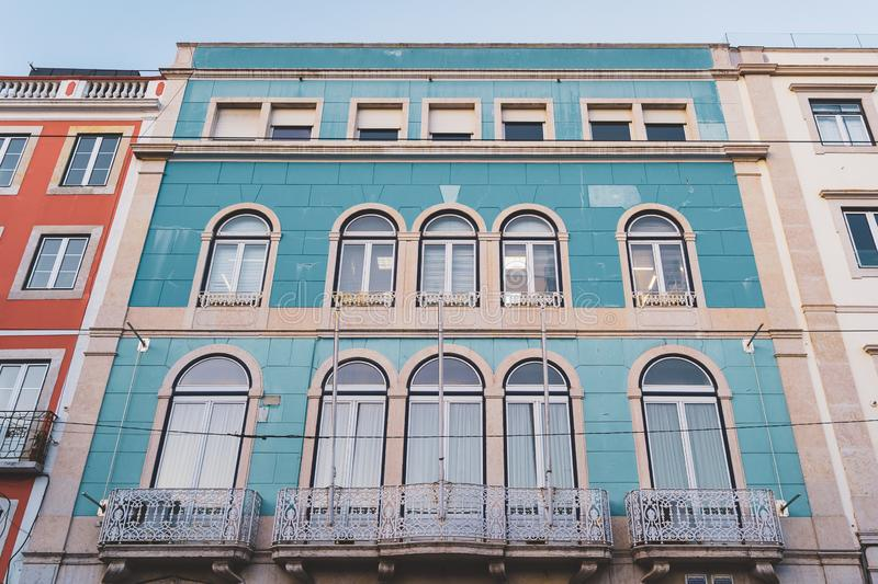 Lisbon, Portugal - 01/03/19: Blue and white traditional tiled building royalty free stock photos