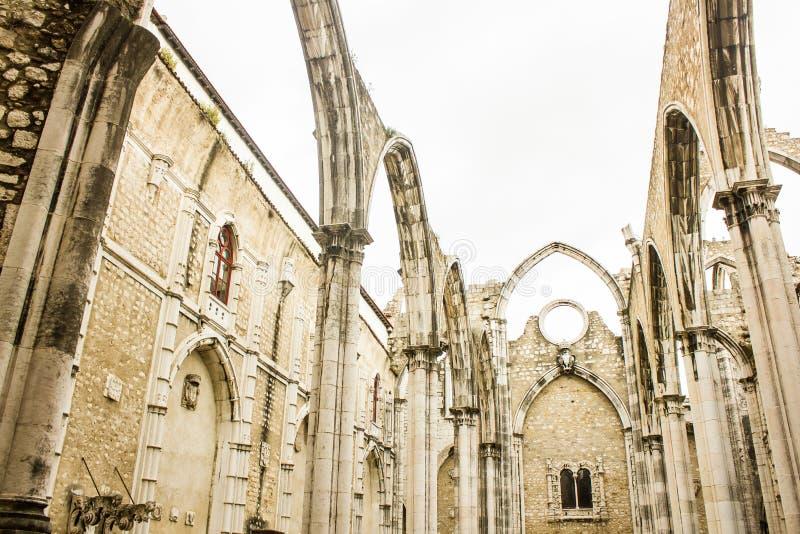Lisbon, Portugal: Carmo church and convent ruins stock photos