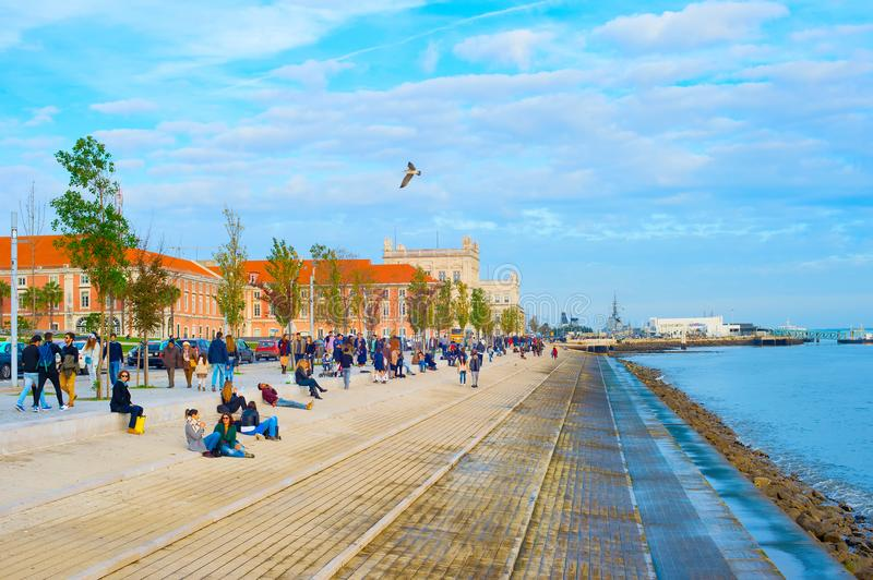 People at embankment. Lisbon, Portugal royalty free stock image
