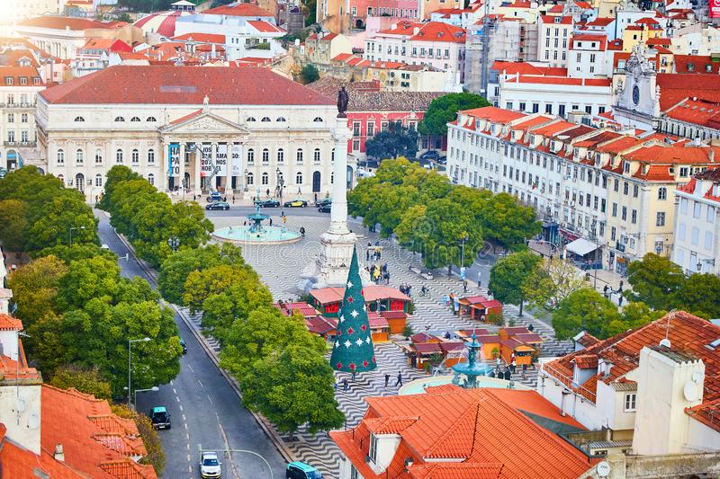 LISBON, PORTUGAL – December12, 2018: View over Rossio square Praca Dom Pedro IV, Lisbon, Portugal royalty free stock photography