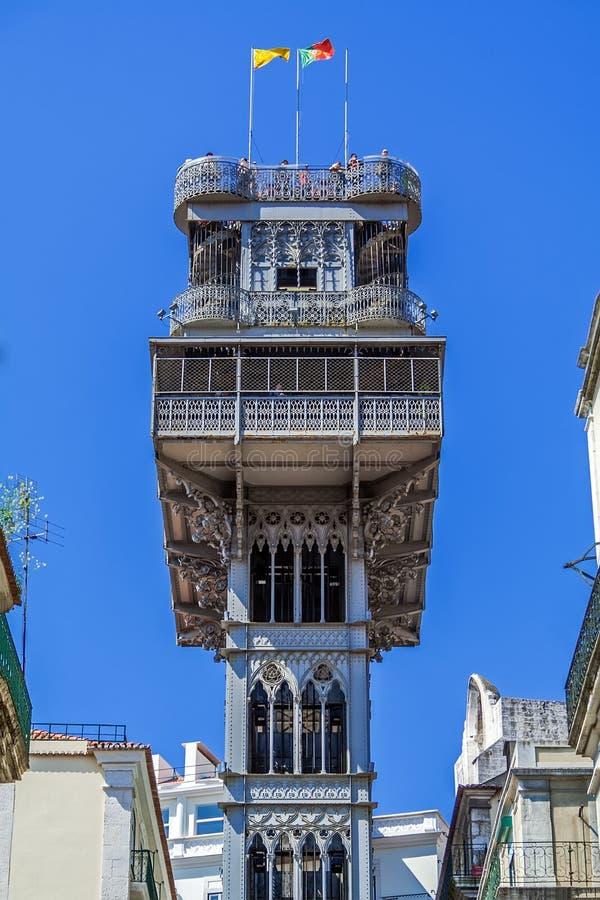 Lisbon, Portugal. Elevador de Santa Justa Lift seen from Santa Justa Street. 19th century. By Raul Mesnier de Ponsard, a Gustave Eiffel disciple royalty free stock photography