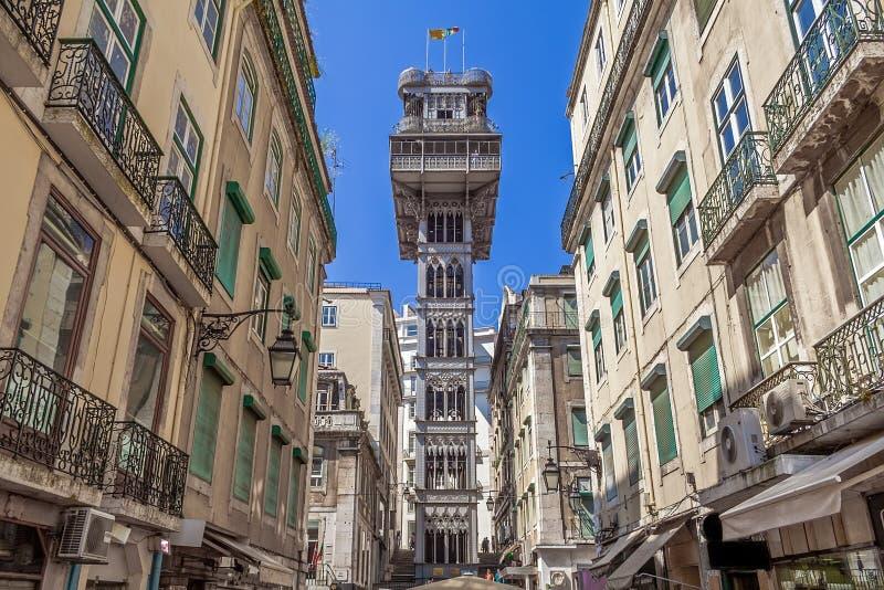 Lisbon, Portugal. Elevador de Santa Justa Lift seen from Santa Justa Street. 19th century. By Raul Mesnier de Ponsard, a Gustave Eiffel disciple royalty free stock image