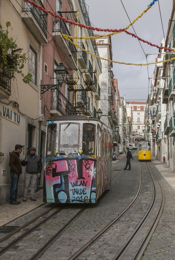 Lisbon, Portugal, Europe - traditional houses, narrow streets and trams. stock photo