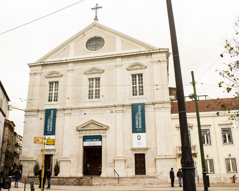 Lisbon, Portugal: facade of S. Roque catholic church. Lisbon Portugal: Facade of S. Roque church, originally built in 16 th century as a Jesuit church. It has a stock photography