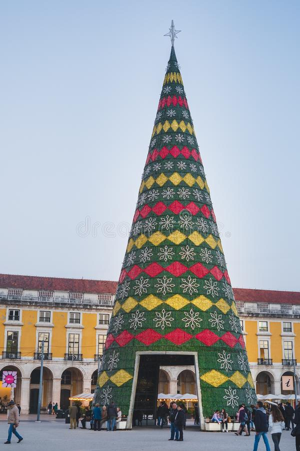 Lisbon, Portugal - 12/26/18: Christmas tree decorated with lights, Terreiro do paco, Lisbon, Portugal. Lisbon, Portugal - 12/26/18: Green Christmas tree royalty free stock photography