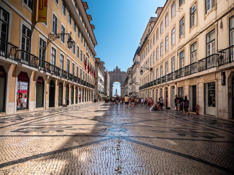 Lisbon Portugal Iconic Symbol Rua Augusta Arch Shot Midday in Summer Top Touris. Lisbon, Portugal - September 13, 2019: Iconic Symbol, Rua Augusta Arch, Shot royalty free stock photography