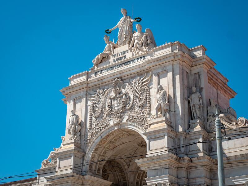 Lisbon Portugal Iconic Symbol Rua Augusta Arch Shot Midday in Summer Top Touris. Lisbon, Portugal - September 13, 2019: Iconic Symbol, Rua Augusta Arch, Shot royalty free stock images