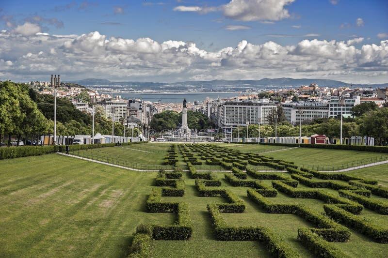 lisbon portugal Ingång till Parquen Eduardo VII arkivbild