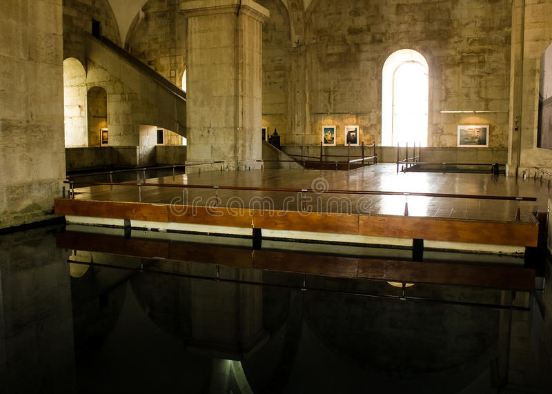 Lisbon, Portugal: inside Mãe d'Água (Water's Mother) and waterfall stock photos