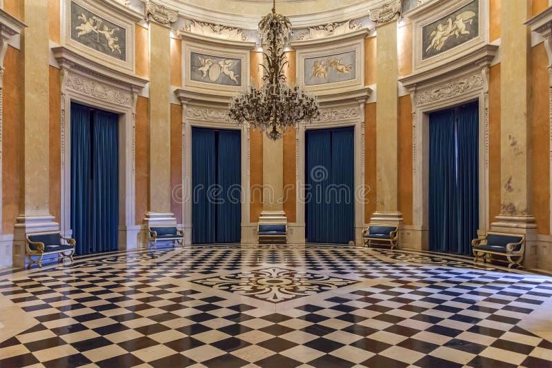 Ambassador Hall of the Noble Floor in Ajuda National Palace. Lisbon, Portugal - June 10, 2013: Ambassador Hall of the Noble Floor in Ajuda National Palace or royalty free stock photography