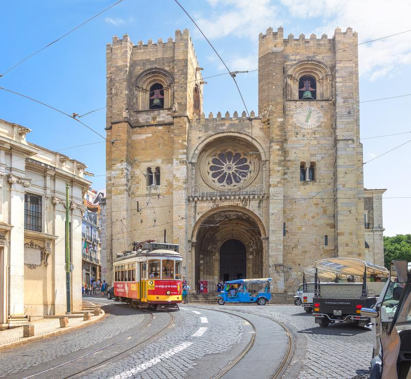 Street view and Se cathedral in Lisbon city, Portugal stock photos
