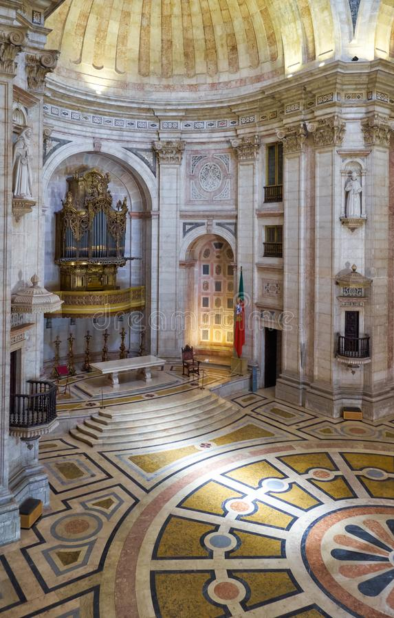 The interior of Engracia church now National Pantheon. Lisbon. LISBON, PORTUGAL - JUNE 25, 2016: The interior of National Pantheon former Church of Santa royalty free stock image