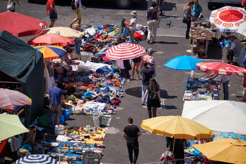 Flea market in Alfama as seen from the roof of National Pantheon stock photography