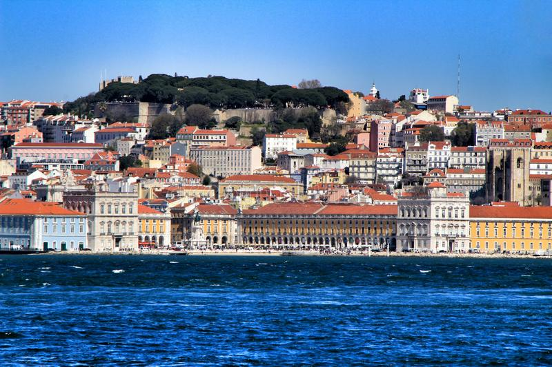 Panoramic view of Lisbon from Almada village. Lisbon, Portugal- March 20, 2019: Beautiful views of Lisbon and the Tagus River from Almada village. Portugal in a stock image