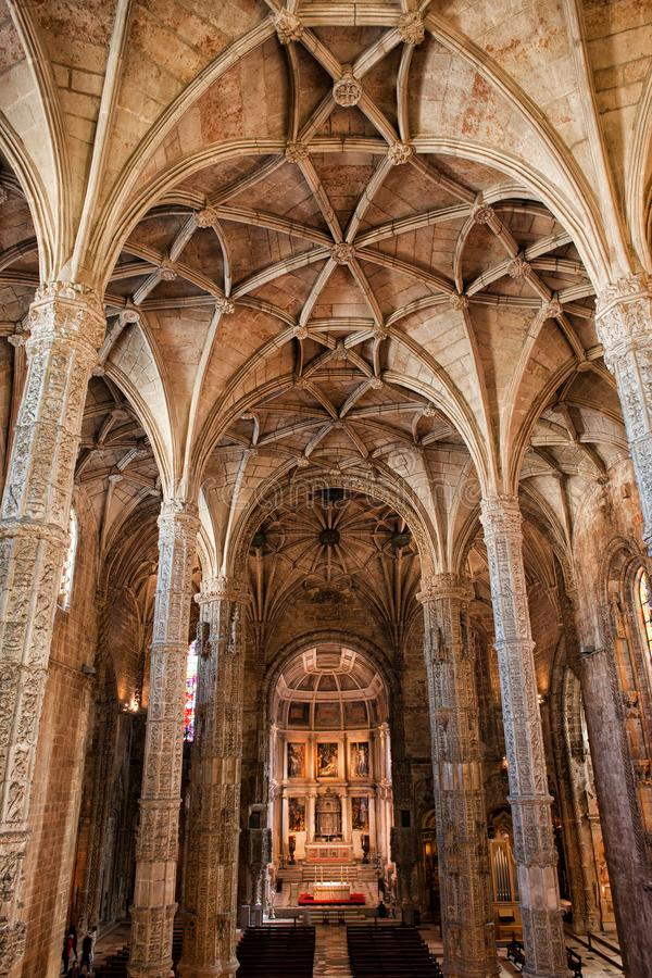 Interior of the Jeronimos Monastery Church stock images