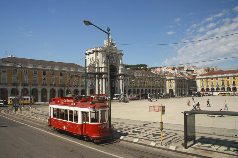 Download Red Sightseeing Tram At Lisbon Commerce Square Editorial Stock Image - Image: 29735929