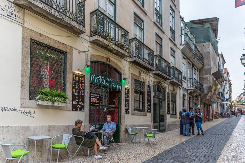 Lisbon, Portugal - May 9th 2018 - Tourists and locals walking in the streets of Chiado area in downtown Lisbon in Portugal stock photo