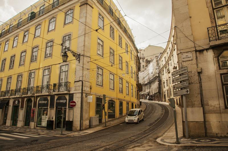 Lisbon, Portugal - narrow streets and traditional buildings. stock image
