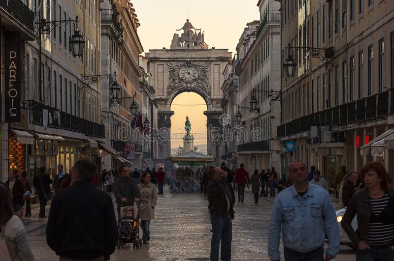 People walking along the Augusta Street Rua Augusta in the city of Lisbon, Portugal stock photography