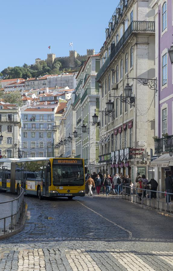 View of St. George`s Castle from Rossio Square stock photo