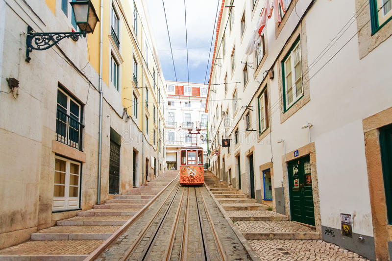 LISBON, PORTUGAL - OCTOBER 23,2012 : Lisbon's Gloria funicular c. Lassified as a national monument opened 1885 located on the west side of the Avenida da stock photo