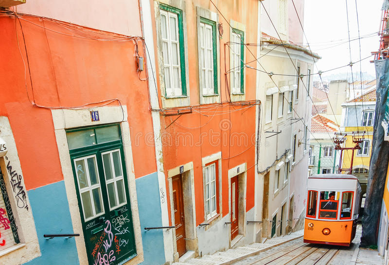 LISBON, PORTUGAL - OCTOBER 23,2012 : Lisbon's Gloria funicular c. Lassified as a national monument opened 1885 located on the west side of the Avenida da royalty free stock photos