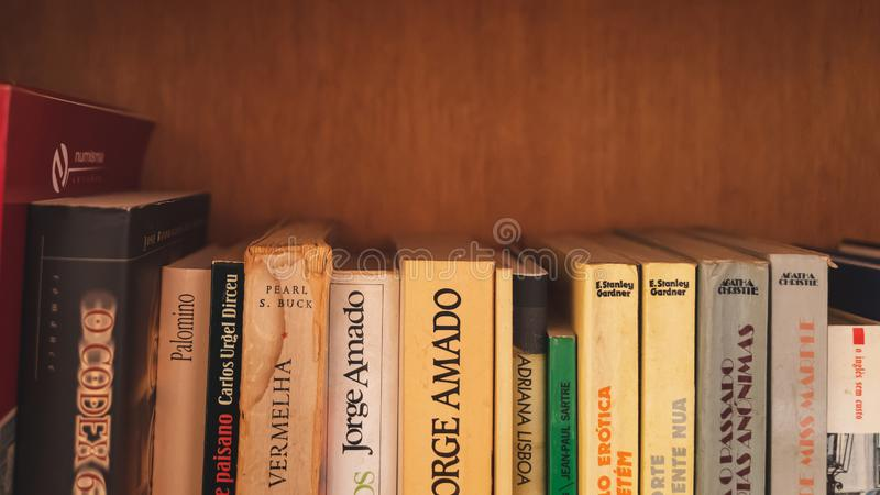 Lisbon, Portugal - 01/01/19: Old vintage books in a shelf royalty free stock photos