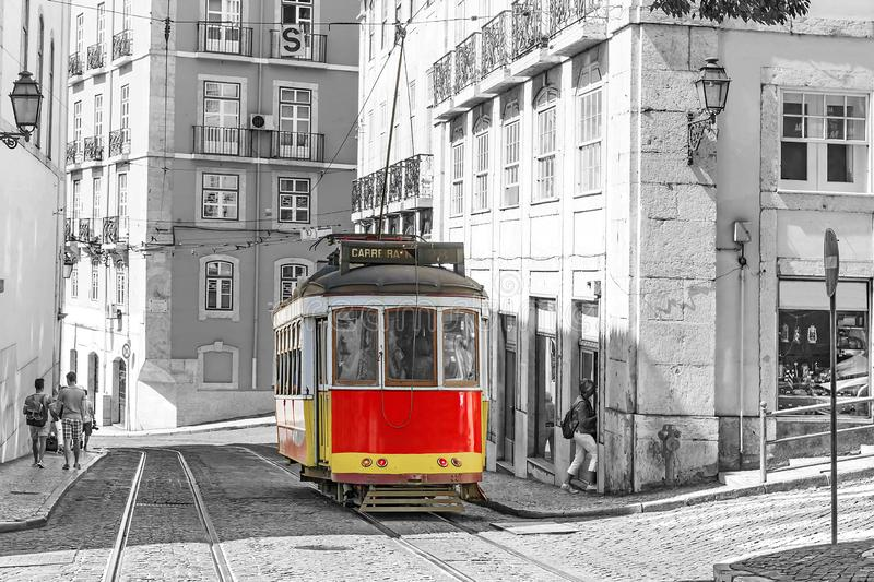 Lisbon, Portugal.Red retro streetcar in the streets in Lisbon royalty free stock photography