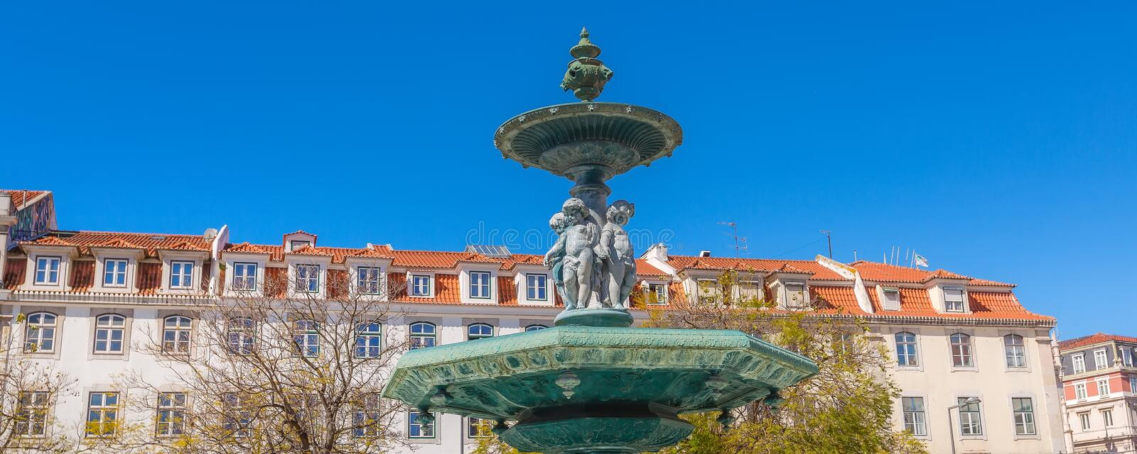 Lisbon, Portugal Rossio square fountain close-up stock images